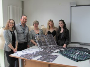 Pictured here with Siobhan's designs are, l to r, Victoria Fothergill and Carl Bartlett of Lectra, Kay Muir of Glasgow Kelvin College, Siobhan Mackenzie and Alison Ratcliffe
