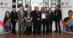 Glasgow Kelvin College youthworkers are pictured here with some of the Seminar's key speakers and the Beacon Award certificate