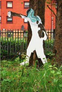 Sculpture in the Community Garden, commemorating the Commonwealth Games 2014 in Glasgow
