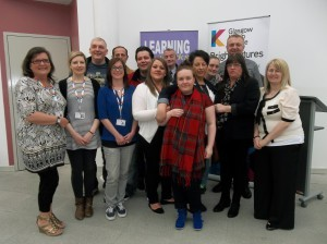The talented learners are pictured here with staff from both Thenue Housing and Glasgow Kelvin College.