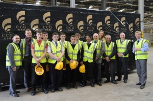 Pupils on a recent visit to CCG OSM in Cambuslang, pictured with staff from East Dunbartonshire Council, Glasgow Kelvin College and Steve Earlie of CCG.