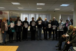 Some of the successful learners receive College certificates from Alan Sherry, Principal, and Lynette McKechnie of Connect Community Trust
