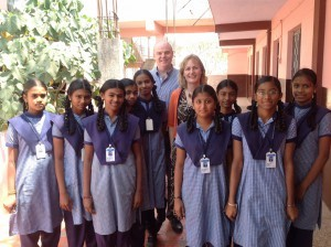 Anne and Alastair are pictured here with a group of enthusiastic young learners from a local secondary school during their recent visit to India.
