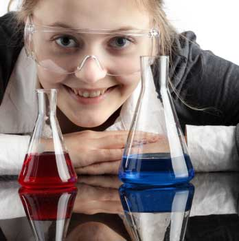 Girl with chemistry flasks