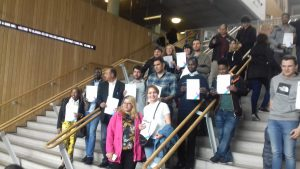 students and staff at award ceremony