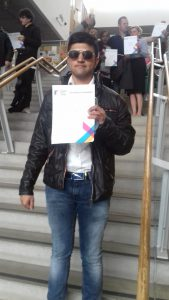 ESOL Student with award