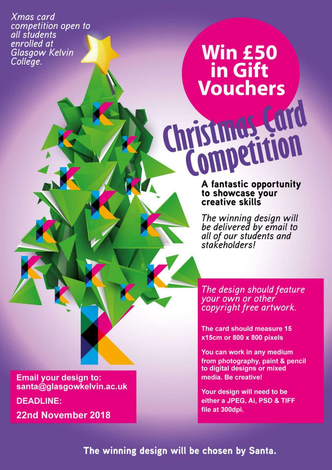 Christmas Card Competition 2018 at Glasgow Kelvin College