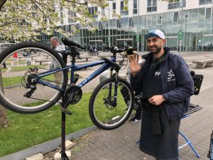Dr Bike session at Springburn campus - cycle on stand