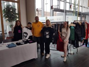 Students with the Depop clothes stall