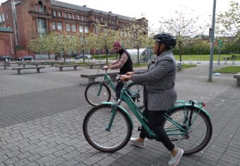 ESOL Student learning to ride a bike