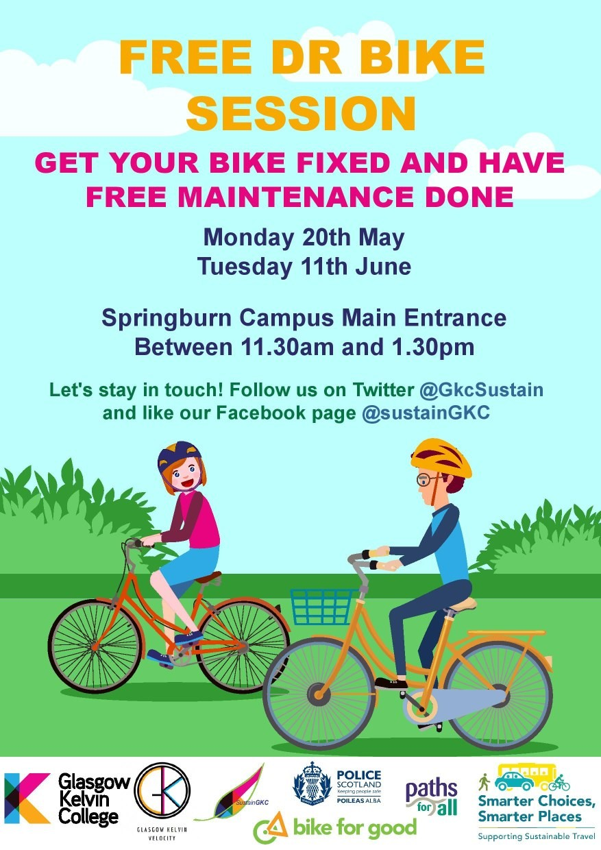 Poster for Dr Bike sessions in May