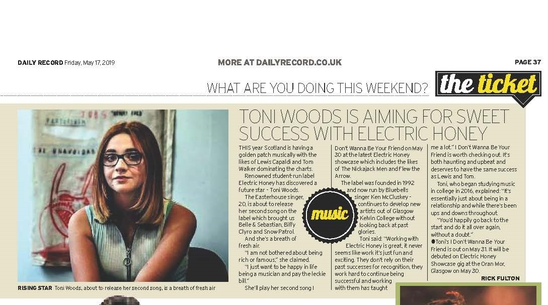 Article from Daily Record about Toni Woods new single
