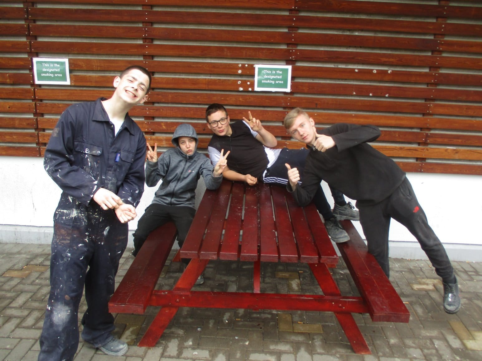 EVIP Construction group with one of the benches