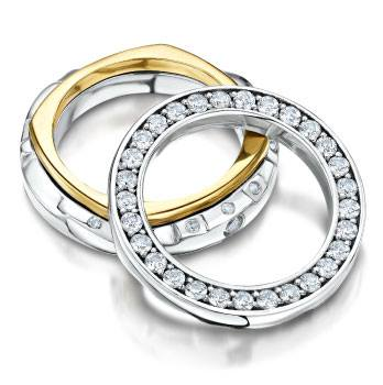 Two rings in white and yellow gold with stones