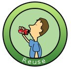 Reuse logo shows boy with drinks can