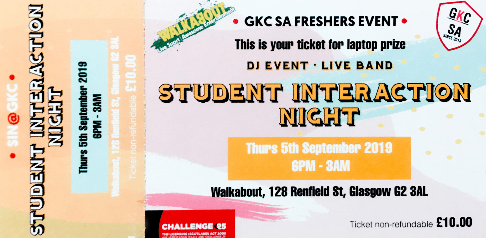 Freshers event ticket