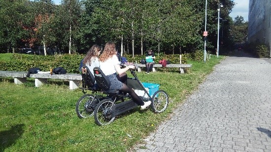 students using Accessibility Bike