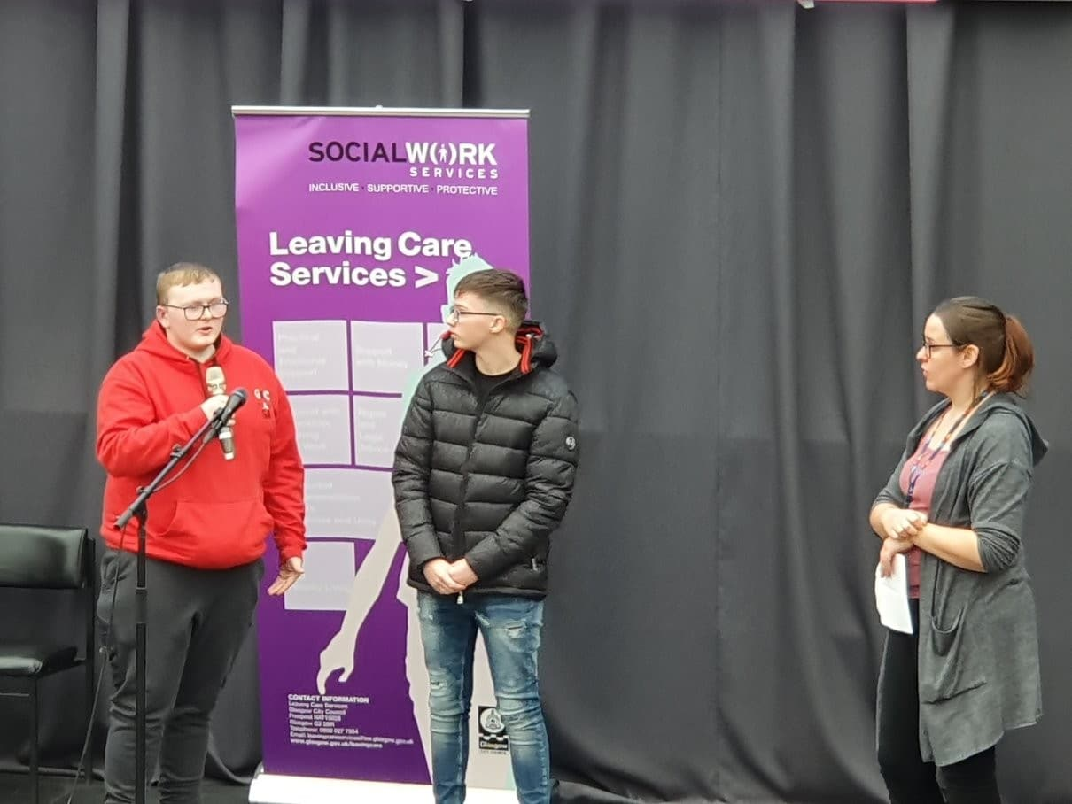 students talking about experiences