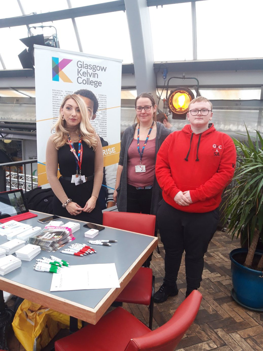 staff and students at open day