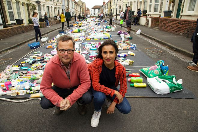 man and woman with lots of plastic