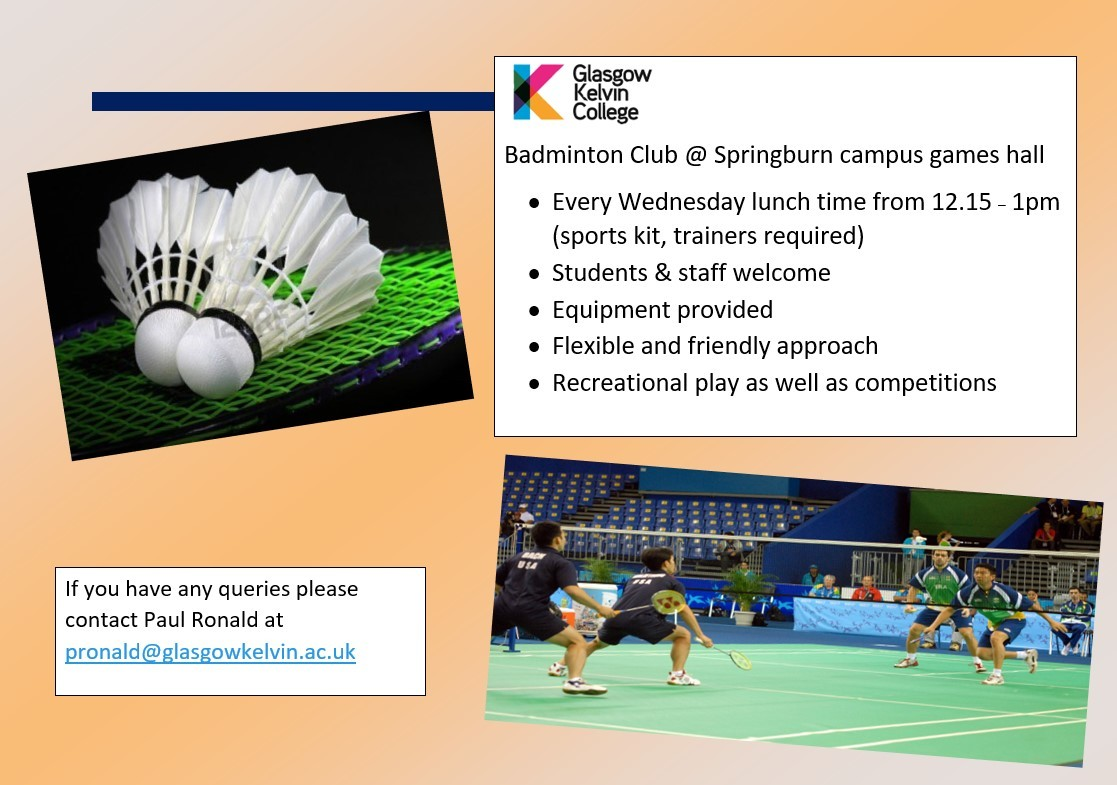 Poster for the Badminton Club