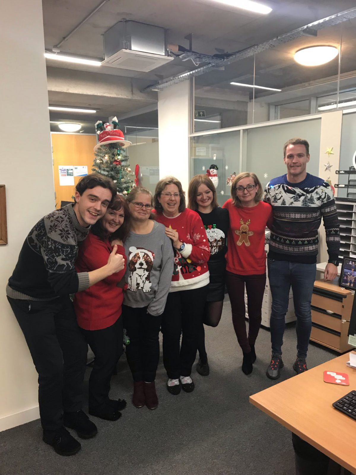 staff in their festive jumpers