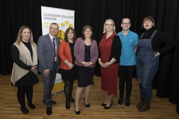 Pictured Student Jenna Sharp from Kelvin College Gus Grubb Dean of Faculty City of Glasgow College ,Teresa Asmead from COGC Minister for Children and Young People Maree Todd with GCRB Chair Janie McCusker ,Student Mark Gibson COGC and Student Laura Saha from Kelvin College