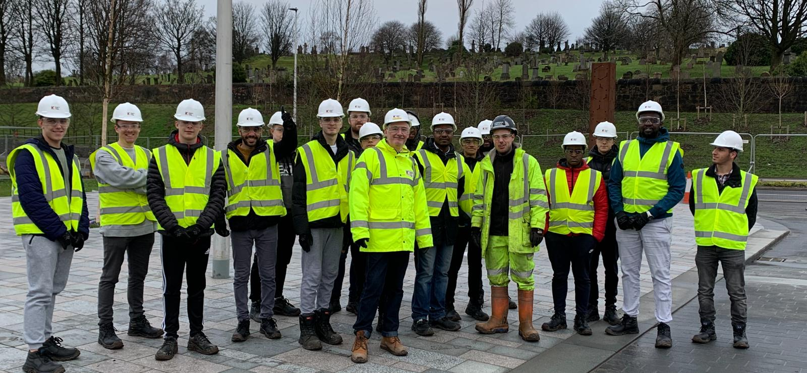 group shout of staff and students on site