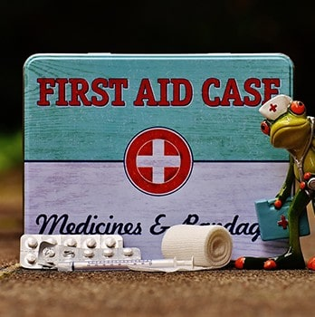 First aid box and bandage