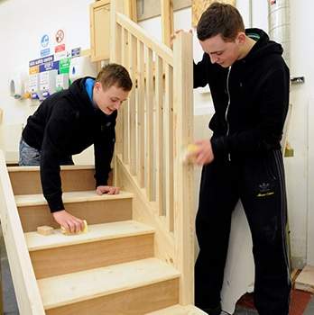 students making staircase