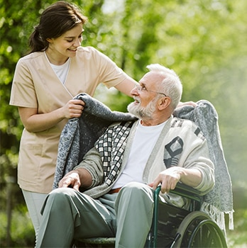 elderly man with carer