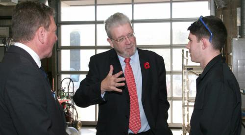 Mike Russell MSP, with student and lecturer
