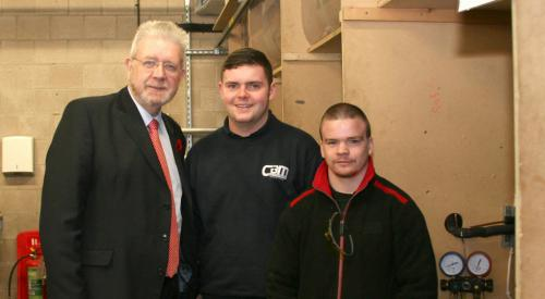 Mike Russell MSP, with students