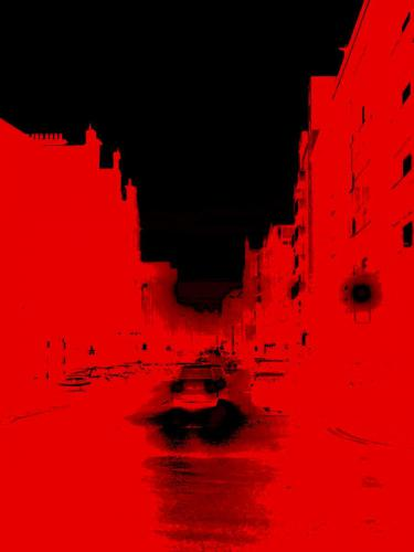 Digital image - canal in red and black