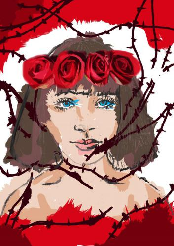 Digital image - womans head with roses in hair