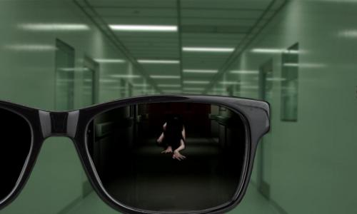 Digital image - person reflected in glasses