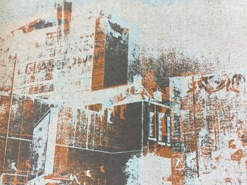 printed, faded buildings in brown tones