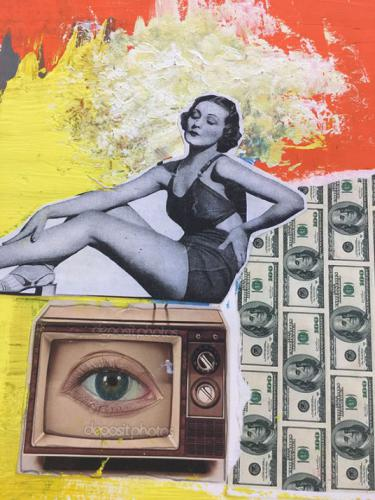 poster with 1950s woman, tv and dollars