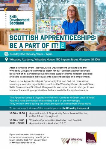Poster for - Be a Part of It in Scottish Apprenticeship Week