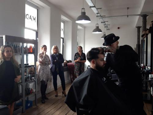 Barbering demonstration at event