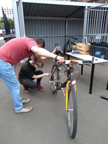 Bike being examined