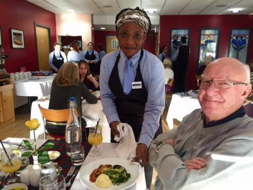 Burns Supper server and customer