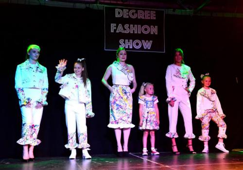 adult and child models in fashion designs