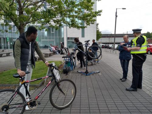 Students, police and bikes