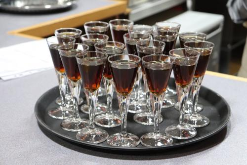 Tray of glasses of sherry