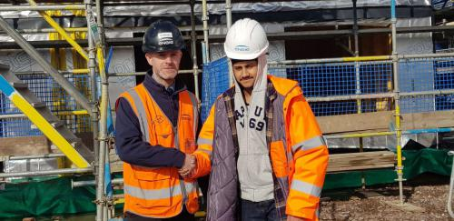 Prakash Singh on an Engie site with manager Craig McLachlan