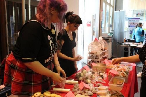 Students selling cakes