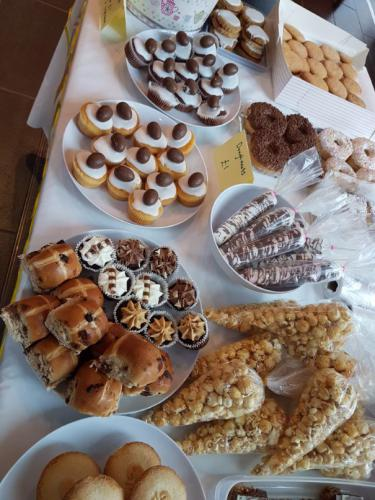 Selection of cakes on sale