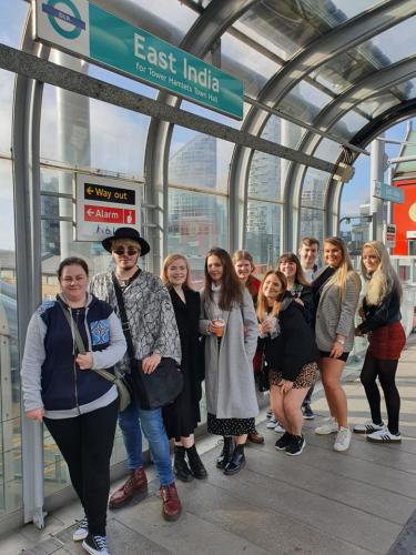 students at Tower Hamlet subway station