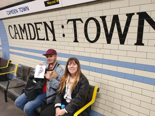 Students in Camden Town subway station